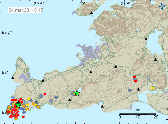 Reykjanes peninsula - location and magnitude of earthquakes at 04.03.2020 / 6.15 p.m. - Doc. IMO