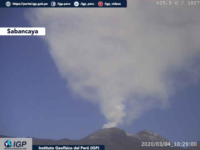 Sabancaya - émission de cendres le 04.03.2020 / 10h29 - Doc. I.G. Peru