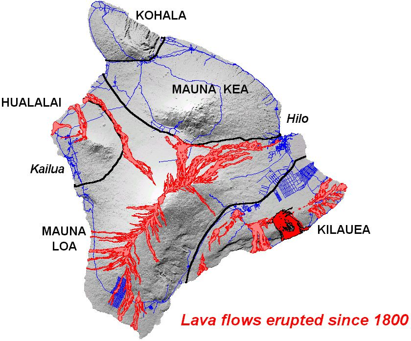 Big island and its volcanoes - The lava flows that have occurred over the past 200 years, shown in red, indicate the location of the Big Island rift zones. - Doc. Hilo u