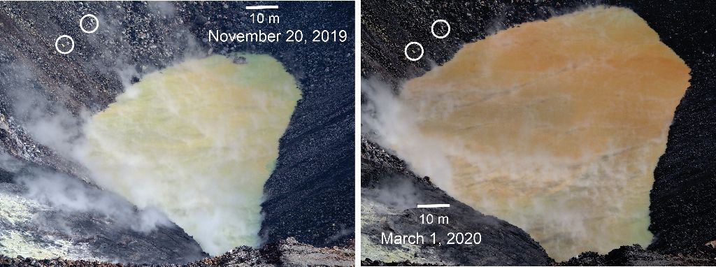 Comparison of the water pond in Halema'uma'u on November 20, 2019, and March 1, 2020. Camera and lens same for both photos. Since November 20, 2019, the pond deepened 10 m (33 ft) and widened more than 50 m (164 ft) east-west and 30 m (98 ft) north-south. Circled clusters of rocks did not move between photos, evidence of slope stability. The water's color browned with time, though the photos probably exaggerate the color difference. The blue-green water at the far and near ends of the pond is interpreted as groundwater entering the pond. - USGS photos by D. Swanson.