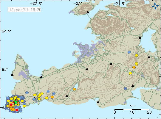 Reykjanes peninsula - location and magnitude of earthquakes - Doc. IMO 07.03.2020 / 19h20