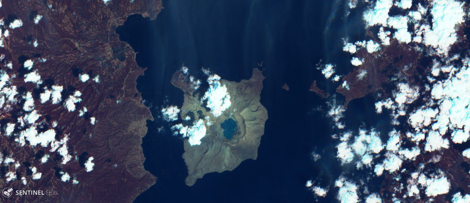 Taal - Sentinel-2 L1C image on 2020-03-08 bands 12,4,2 dated 08.03.2020