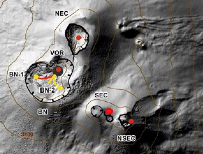 Etna - Map of the summit crater area (DEM 2014, Laboratory of aerogeophysics - Section Rome 2, mod.). Scalloped black lines = edge of upper craters: BN = Bocca Nuova, inside of which BN-1 and BN-2 are observed; VOR = sinkhole; NEC = Northeast Crater; SEC = Southeast Crater; NSEC = New Southeast Crater. Yellow dots = degassing vents. Red dots = mouths with eruptive activity. red line = active molded parts. Yellow lines = pouring in cooling. Gray circle = ash cone. - Doc. INGV OE