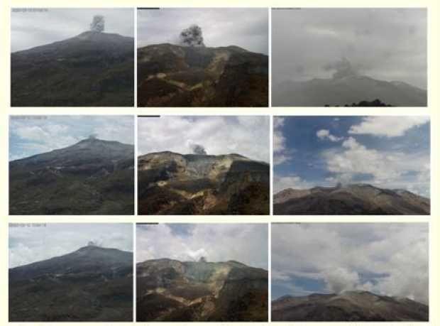 Nevado del Ruiz - ash emissions from the last days - Doc. SGC