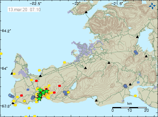 Reykjanes peninsula - location and magnitude of earthquakes at 13.03.2020 / 07:10 - Doc. IMO