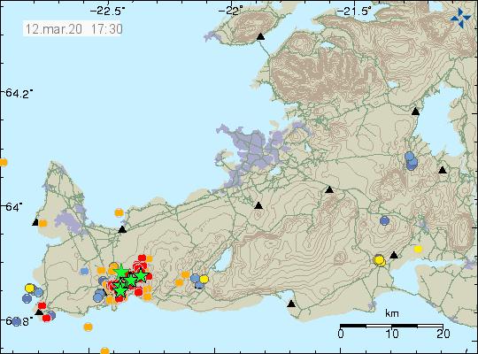 Péninsule de Reykjanes - localisation et magnitude des séismes au 12.03.2020 / 17h30 - Doc. IMO