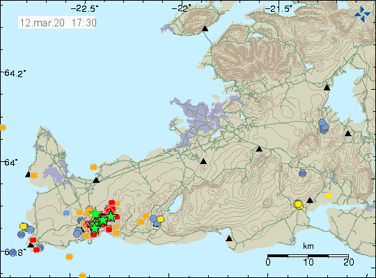Reykjanes peninsula - location and magnitude of earthquakes at 12.03.2020 / 5.30 p.m. - Doc. IMO