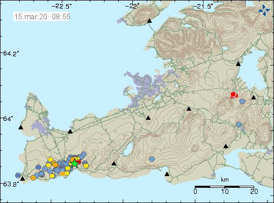 Péninsule de Reykjanes - localisation et magnitude des séismes au 15.03.2020 / 08h55 - Doc.  IMO