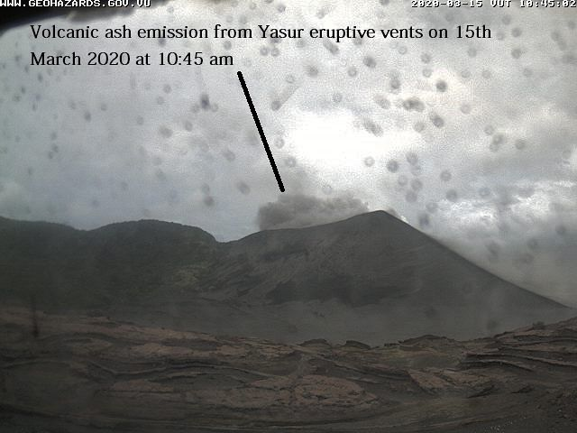 Yasur - emission of gas and ash on 15.03.2020 / 10.45 am - Doc. VGO