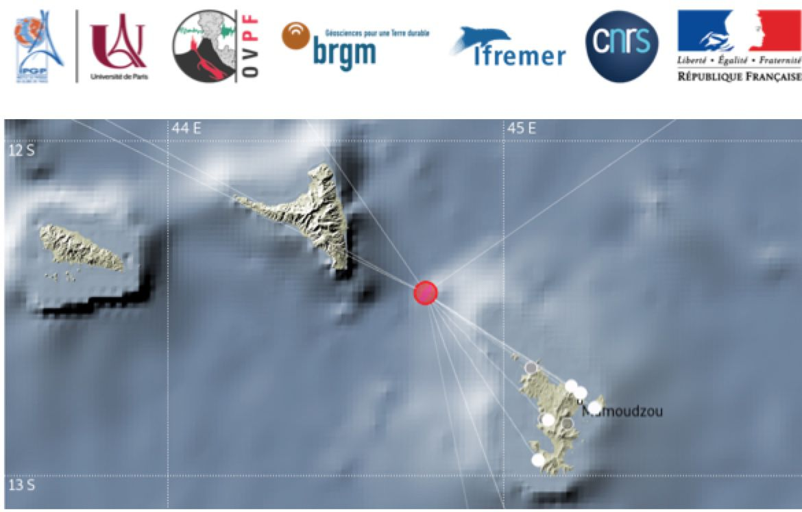 Mayotte - Earthquake between Mayotte and Anjouan on 21..03.2020 / 9h46 loc. M 5.8 (red dot epicenter) - Doc. REVOSIMA
