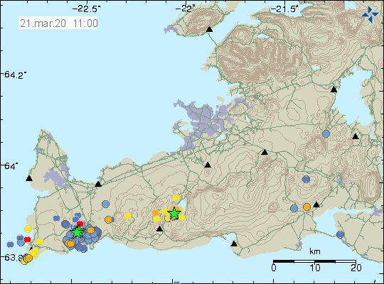 Reykjanes - location and magnitude of the earthquakes at 21.03.2020 / 11:00 am - Doc. IMO