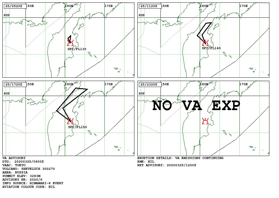 Sheveluch - volcanic ash advisory au 25.03.2020 /  06h00Z  - Doc. VAAC Tokyo
