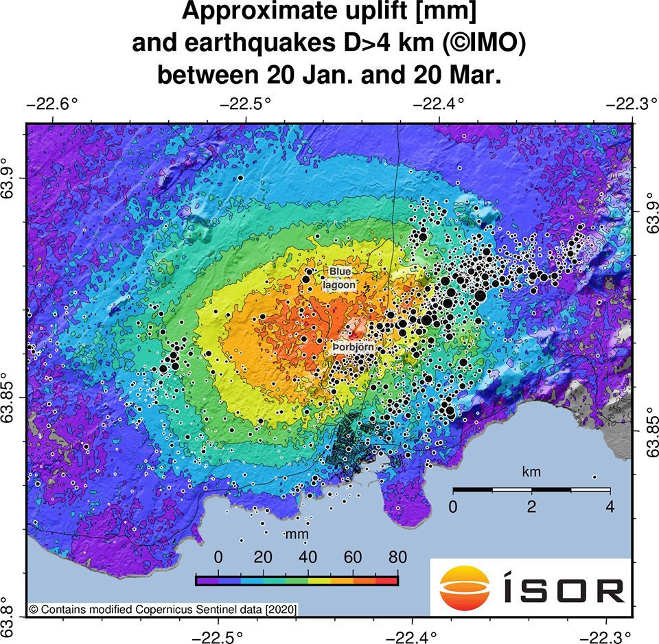 Mt. Þorbjörn - inflation and earthquakes more than 4 km deep between January 20 and March 20, 2020 - Doc. ISOR Iceland GeoSurvey / Twitter