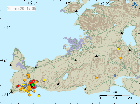 Reykjanes peninsula - location and magnitude of earthquakes at 25.03.2020 / 5:05 pm - Doc. IMO