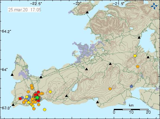 Péninsule de Reykjanes - localisation et magnitude des séismes au 25.03.2020 / 17h05 - Doc. IMO