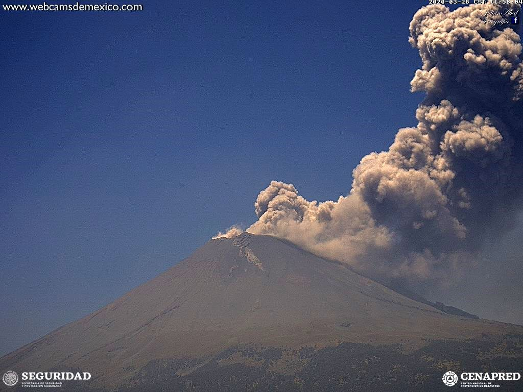 Popocatépetl - 28.03.2020 / 11.58 am - WebcamsdeMexico