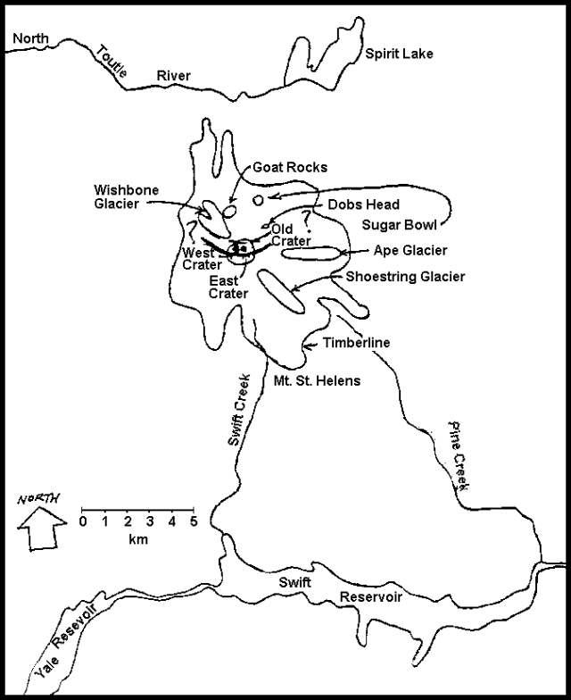 Sketch of the map of Mt. St. Helens. The positions and lengths of the arched top cracks are approximate, as indicated by question marks at each end. The old summit crater is shown to be about 0.5 km larger than its actual diameter. The two active vents have merged to the surface, but retain their distinct identities. - March 1980- Courtesy of Robert Christiansen and Robert Tilling / GVP