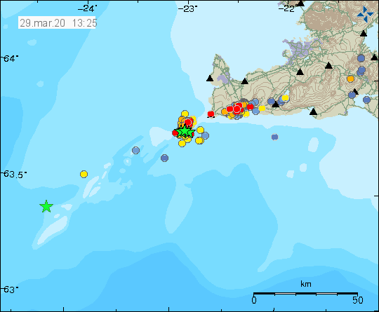 Reykjanes ridge and peninsula - location and magnitude of the earthquakes of March 29 and 30 / 1:25 p.m. - Doc. IMO