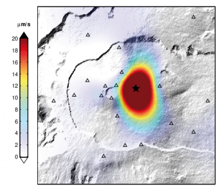 Piton de La Fournaise - Location map of the eruption tremor, 04/02/2020 between 1:15 p.m. and 1:30 p.m. (local time) (© OVPF / IPGP).