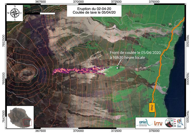 Piton de La Fournaise - Mapping of the lava flow dated 4/4/2020 at 18:52 local time. The white star represents the position of the pouring front at 10:12 local time on 5/4/2020 (© OVPF / IPGP / LMV / OPGV).
