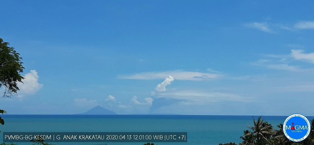 Anak Krakatau - plume of steam and gas from 13.04.2020 / 12:01 WIB - Doc.Magma Indonesia
