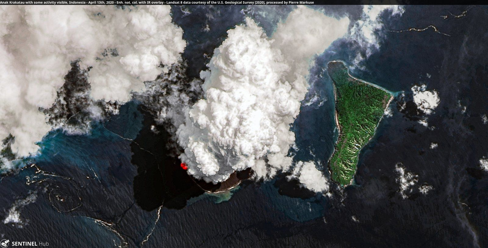 Anak Krakatau - image Sentinel 2 + data Landsat 8 / USGS - Doc. Pierre Markuse - un clic pour agrandir