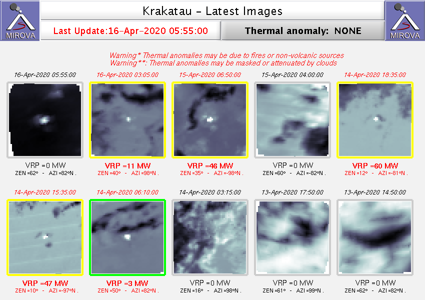Anak Krakatau - Thermal anomalies on 17.04.2020 / 03.45 am - Doc. Mirova_MODIS_Latest10NTI