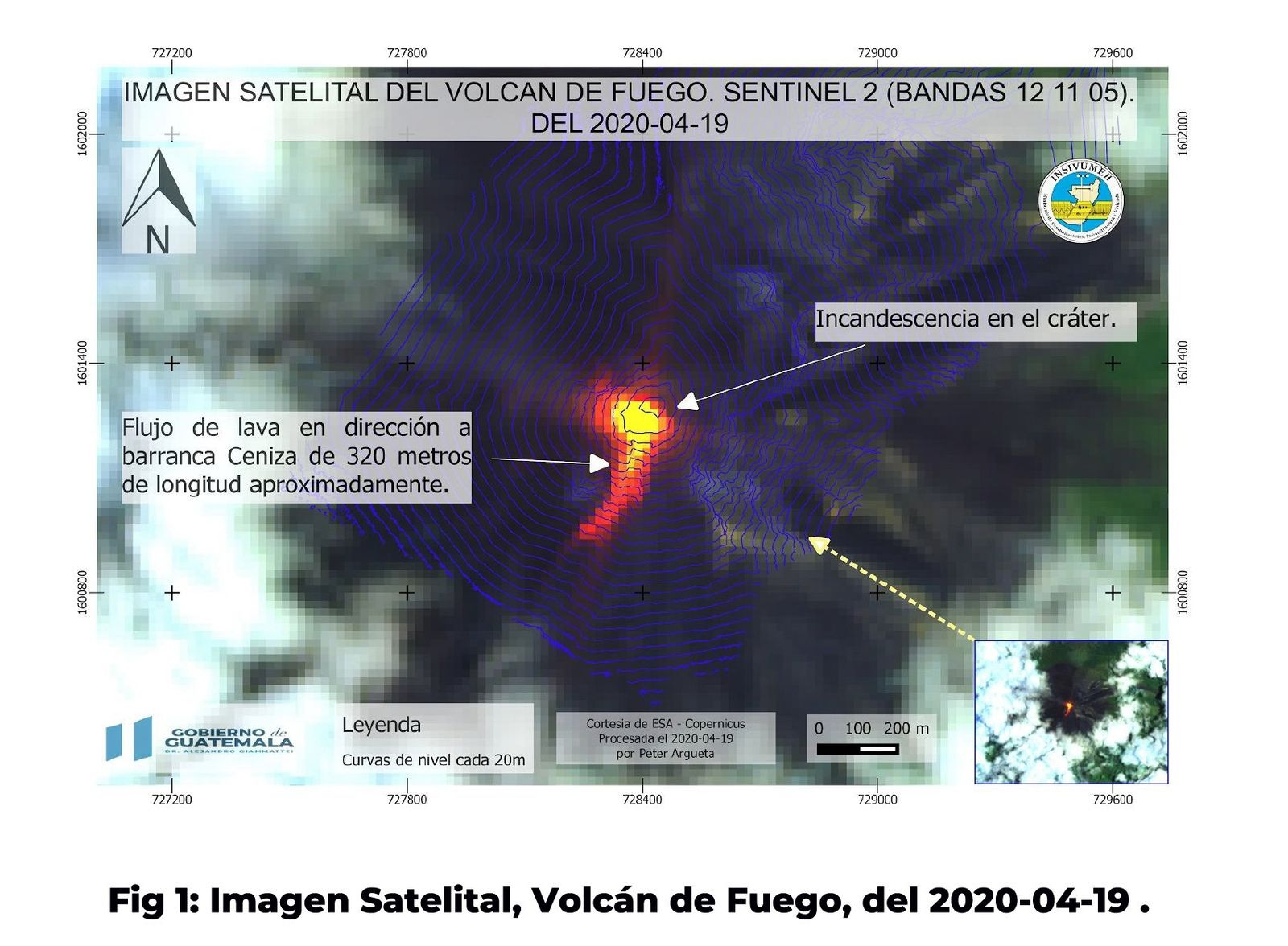 Fuego - lava flow on this satellite image bands 12,11,5 dated 19.04.2020 - Doc Insivumeh / Gobierno de Guatemala