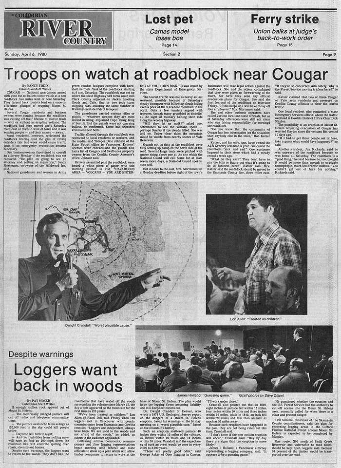 Le St. Helens commence à préoccuper la population -  The Columbian (Vancouver, Washington), 6 avril 1980, page 9.  - USGS