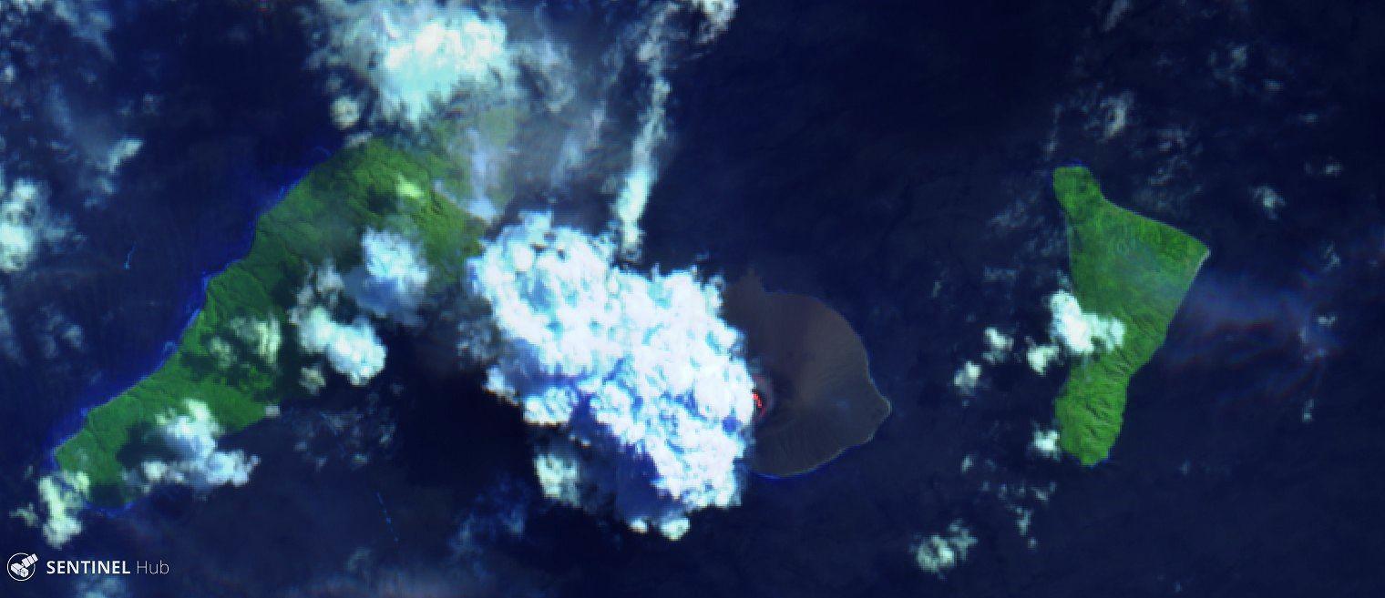 Anak Krakatau - 27.04.2020 - Sentinel-2 L1C image bands 12,11,4 - un clic pour agrandir