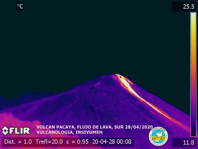 Pacaya - la coulée de lave le 28.04.2020 à la caméra FLIR - doc. Insivumeh