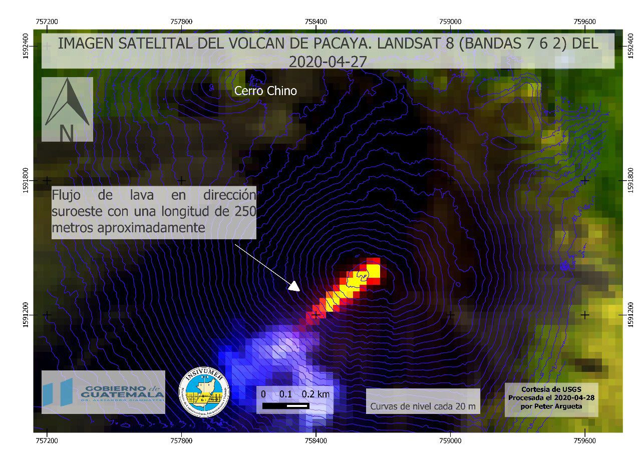 Pacaya - lava flow, 250 meters long, on April 27, 2020 - image Lansat 8 bands 7,6,2 - Doc. Insivumeh / USGS