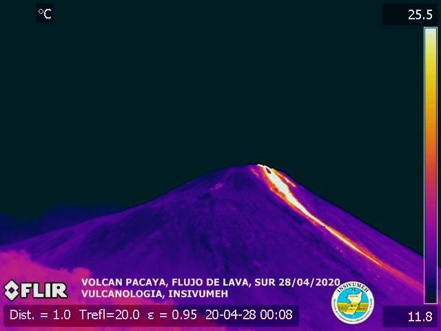 Pacaya - lava flow on 04.28.2020 with FLIR camera - doc. Insivumeh