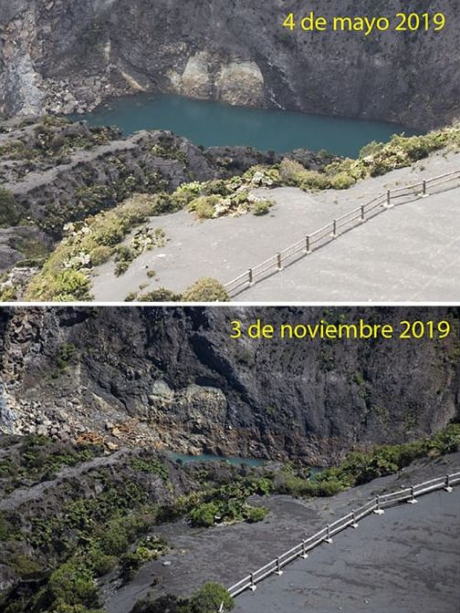 Irazu - evolution of the level of the crater lake between May 4 and November 3, 2019 - photos RSN - CNE
