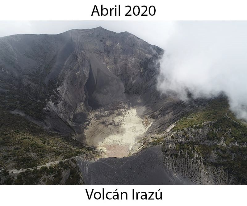 Irazu - drying up of the crater lake and traces of landslide from last year in April 2020 - photos RSN- CNE