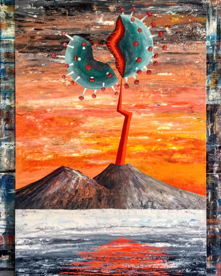 Corona virus vs Vesuvius - Work by Gennaro Regina (put on its Facebook page on 04.28.2020)