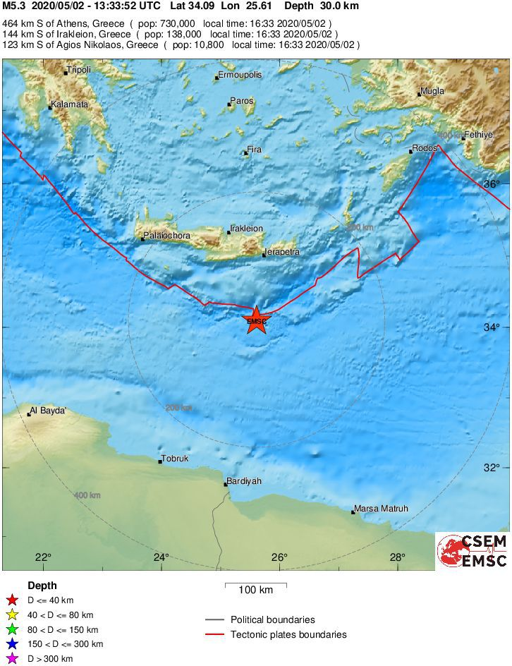 South Crete - earthquakes of 02.05.2020 / 12.51 and 13.33 UTC - Doc. EMSC