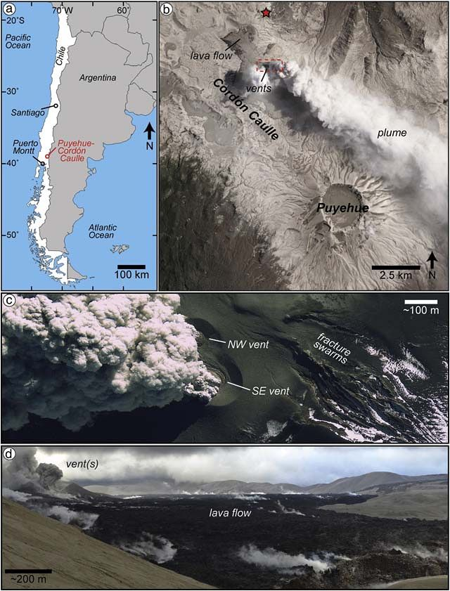 "This series of images includes: a) a location map of Puyehue-Cordón Caulle; b) a NASA ALI image taken on January 26, 2012, including the annotated locations of the observation points (red star) and the red box corresponds to the area in ""c""; c) the overlapping ventilation structures and ash plumes were captured on this GeoEye-1 image from July 3, 2012; (d) and this panorama of the active lava flow observed on January 10, 2012 (note that the scale is approximate). The original images are from Schipper et al., 2013. / GVP"