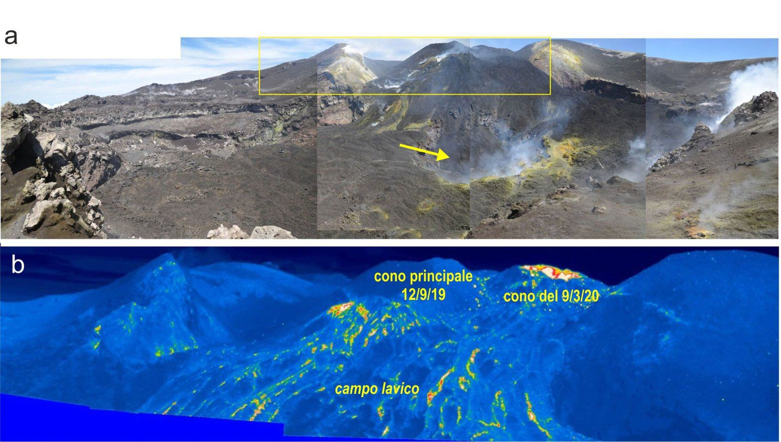Etna - a) Overview of the BN and VOR craters taken during the May 1 inspection from the edge south of BN. The arrow indicates the depression which widens at the bottom of the BN crater (photo M.Coltelli). b) thermal image of the area framed in yellow in a), taken during the inspection on April 30. Active flows are no longer present and the entire lava field cools down (images by L. Lodato). - Doc INGV OE