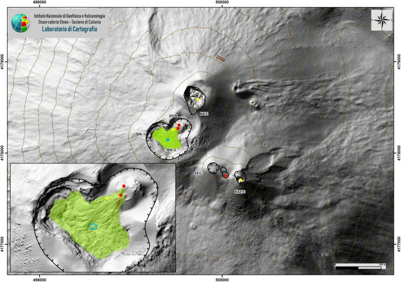 Map of the summit crater area (DEM 2014, Aerogeophysics Lab - Section Rome 2, mod.) And detail of the VOR-BN area of ​​Etna. Indented black lines = edge of the upper craters: BN = Bocca Nuova, with the depressions of the northwest (BN-1) and the southeast (BN-2); VOR = sinkhole; NEC = Northeast Crater; SEC = Southeast Crater; NSEC = New southeast crater. The indented blue line indicates a depression inside BN. Yellow dots = degassing vents. Red dots = mouths with eruptive activity. - Doc. INGV OE