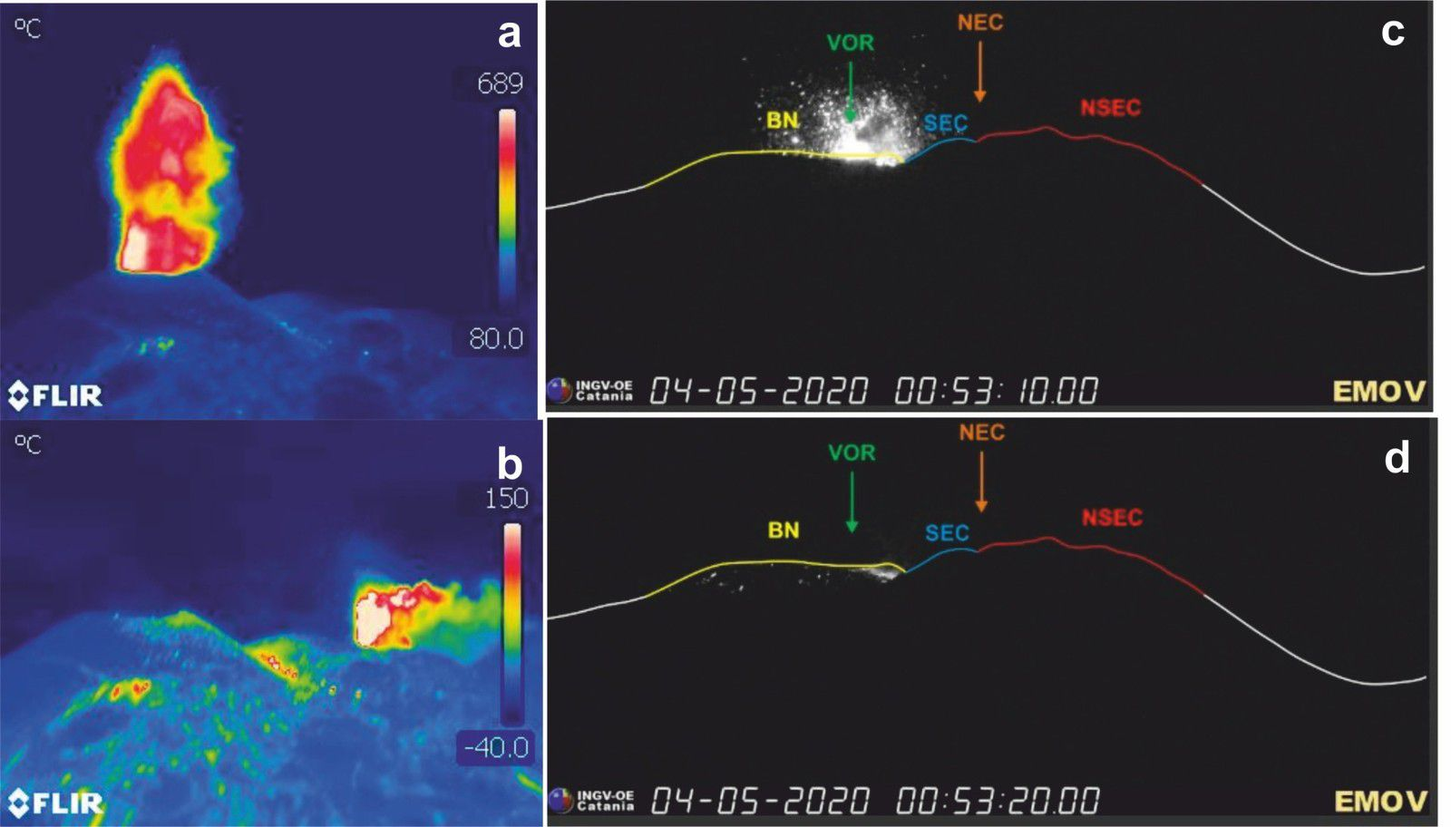 Etna - Thermal images of strombolian activity at the VOR crater from the a) main cone formed on 12/09/2019 and b) from the cone formed on 03/09/2020, photos during the inspection on 1 May (taken by F. Ciancitto). - Images of cameras visible from La Montagnola showing c) strong Strombolian activity in the VOR crater and d) the coarse products of the explosions which fall on the southern flank of the BN crater. - Doc. INGV OE