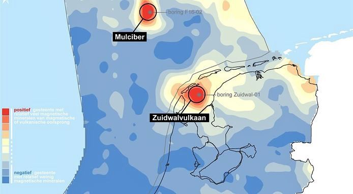 Respective location of Zuidwal and Mulciber volcanoes. - Doc.TNO