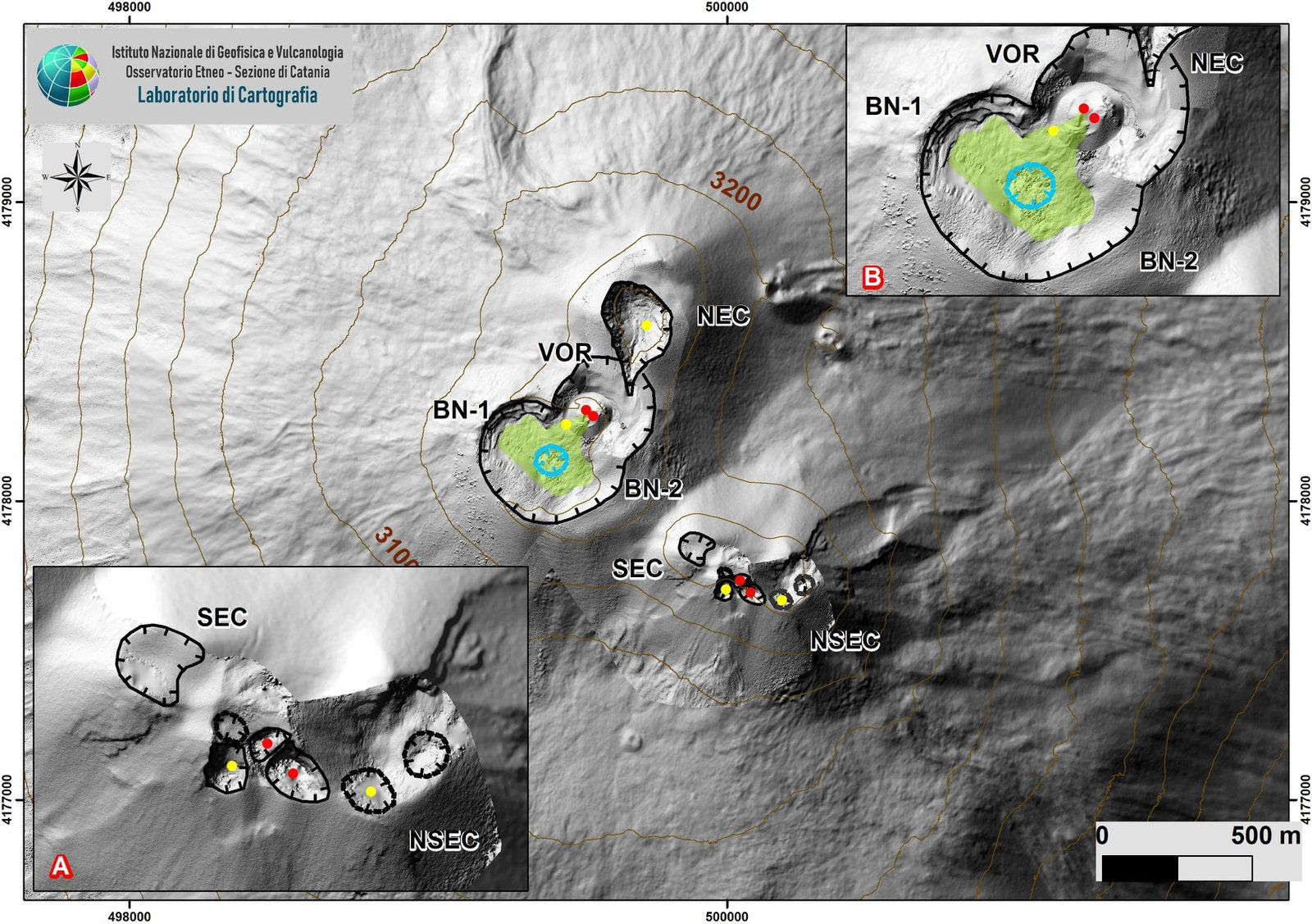 Etna - map of active craters to facilitate identification on the Sentinel image above - Doc. INGV OE / report of 10.05.2020