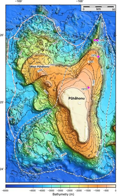 Bathymetry of the Pūhāhonu volcano - Doc. Direct Science
