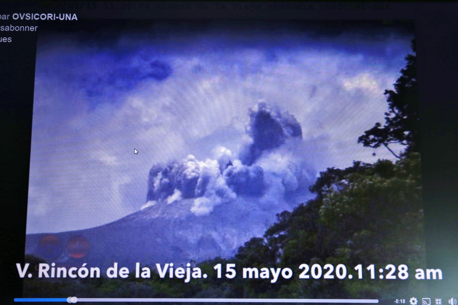 Rincon de La Vieja - hydrothermal eruption of 15.05.2020 / 11.28 am - Screan Ovsicori video