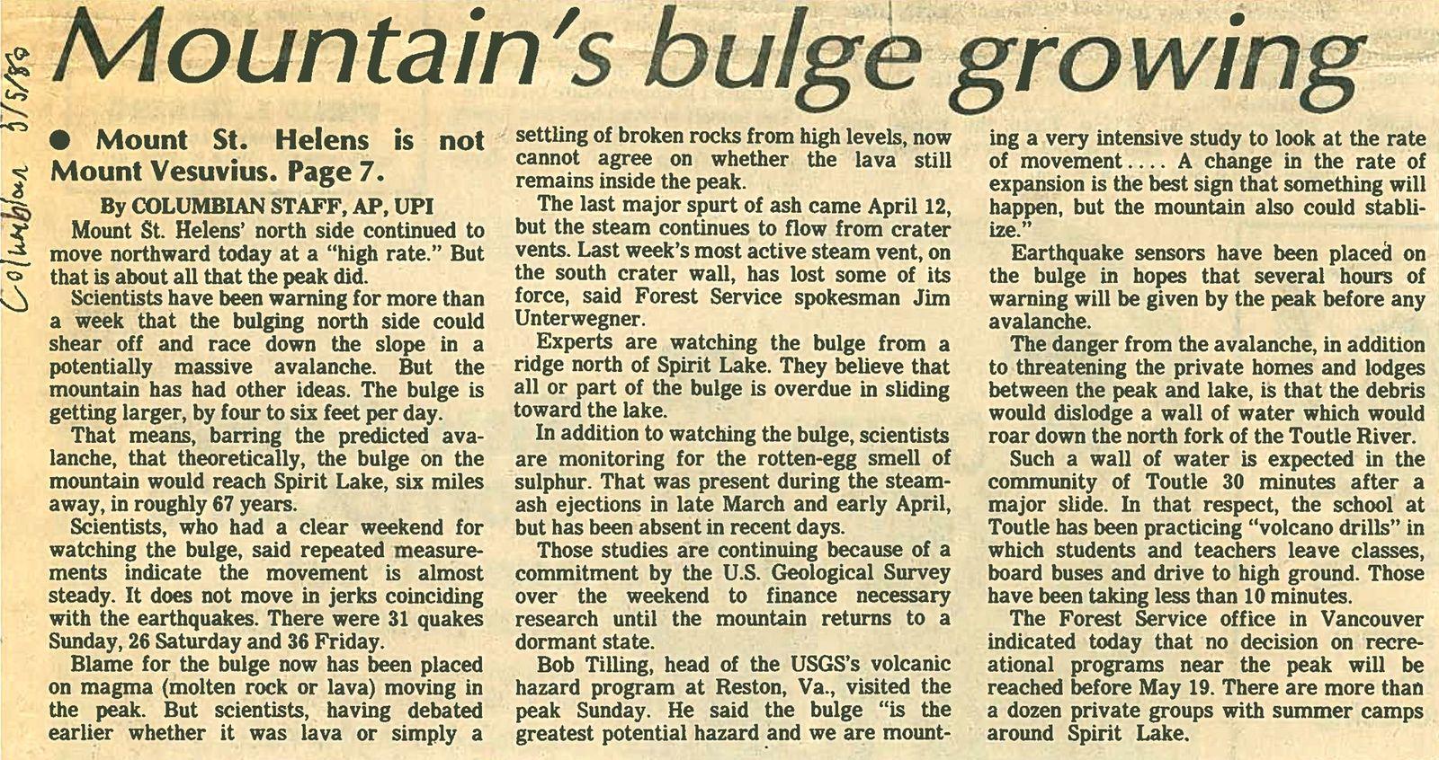 St Helens - Article du 03.05.1980dans le Columbian journal commentant la croissance du renflement  - un clic pour agrandir