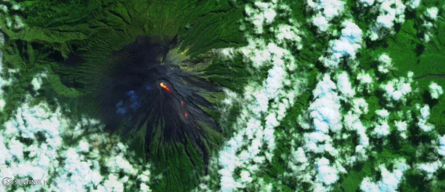 Semeru - hot spot at the top and on the lava flow on 05.15.2020 Sentinel-2 L1C image bands 12,11,4 - one click to enlarge