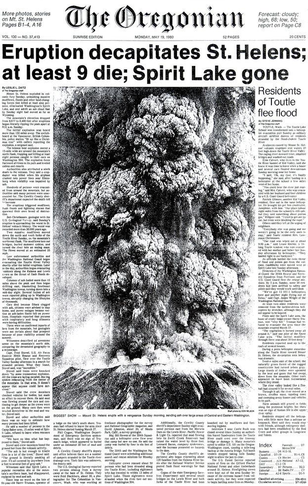 "Front page of The Oregonian of 19.05.1981 - ""Decapitation of the Mt.St. helens - The Spirit lake has disappeared"""
