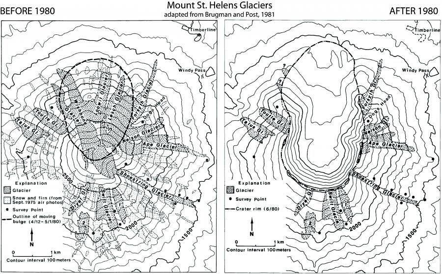 Extension of the St. Helens glaciers, before and after 18.05.1980 - USGS / Brugman and Post 1981 map