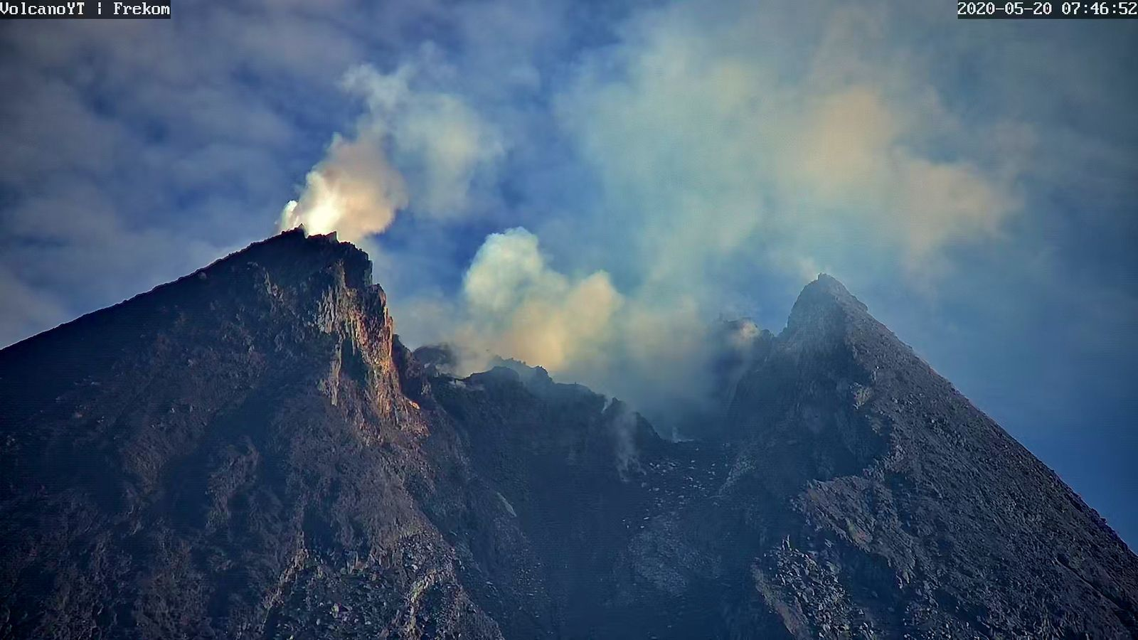Merapi- the summit and the dome on May 20, 2020 / 07:46 - Doc. Volcano YT i Frekom